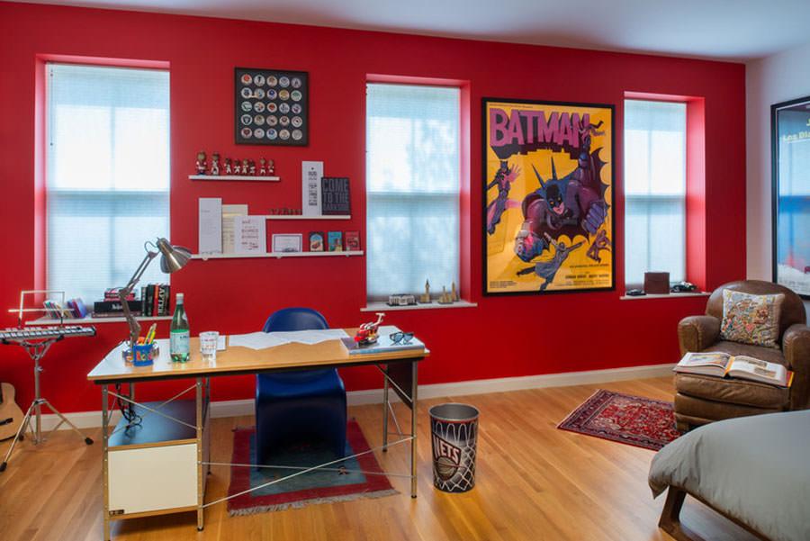Idee per camerette con pareti rosse n.1
