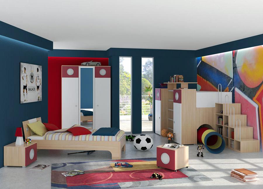 Idee per camerette con pareti blu n.3