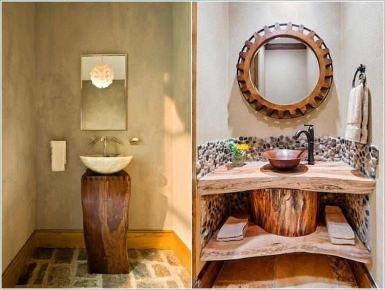 Mobile da bagno realizzato con un tronco d'albero
