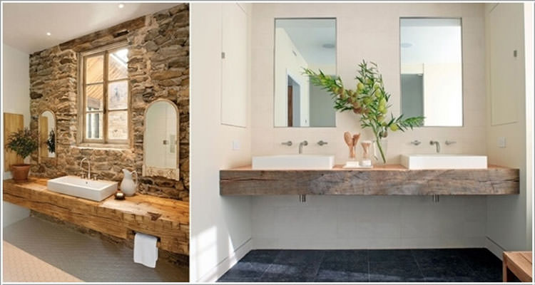 Mobile bagno con lastre di legno riciclato