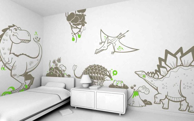 Cameretta per ragazzi con decorazioni murali n.06