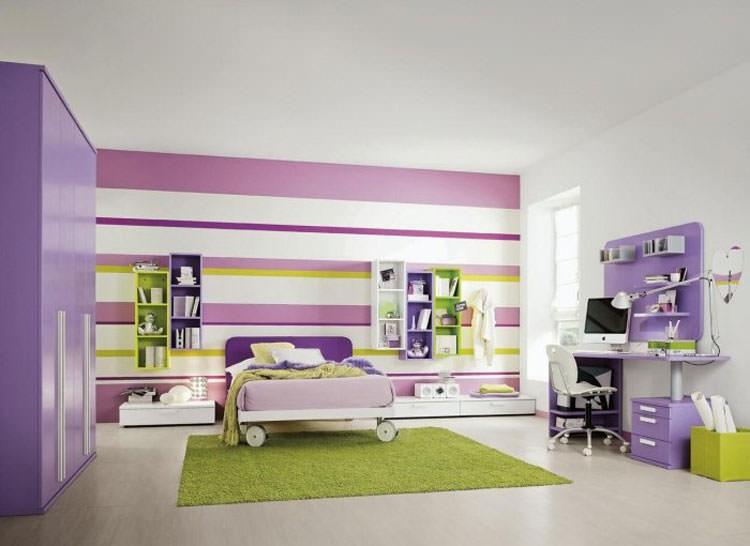 Cameretta per ragazzi con decorazioni murali n.07