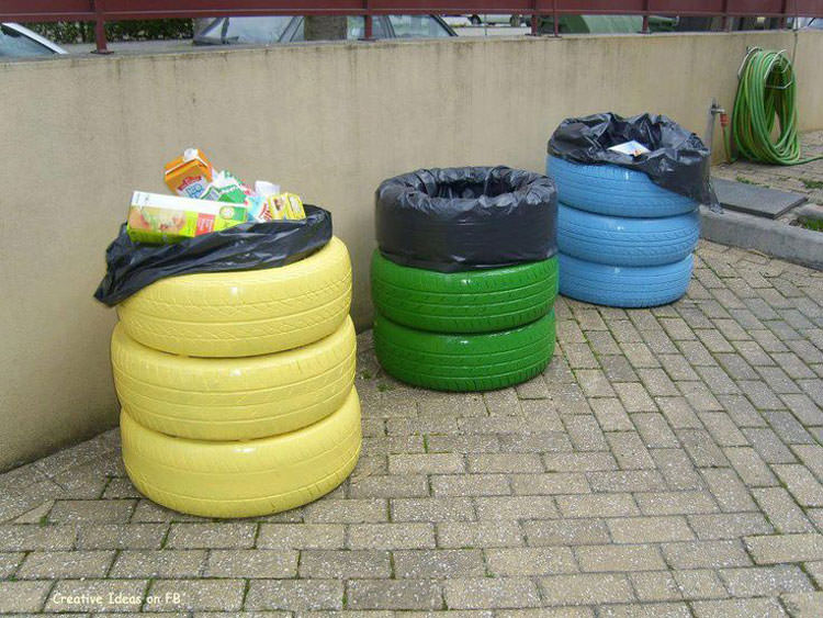 Cestini per il riciclo con pneumatici svrapposti