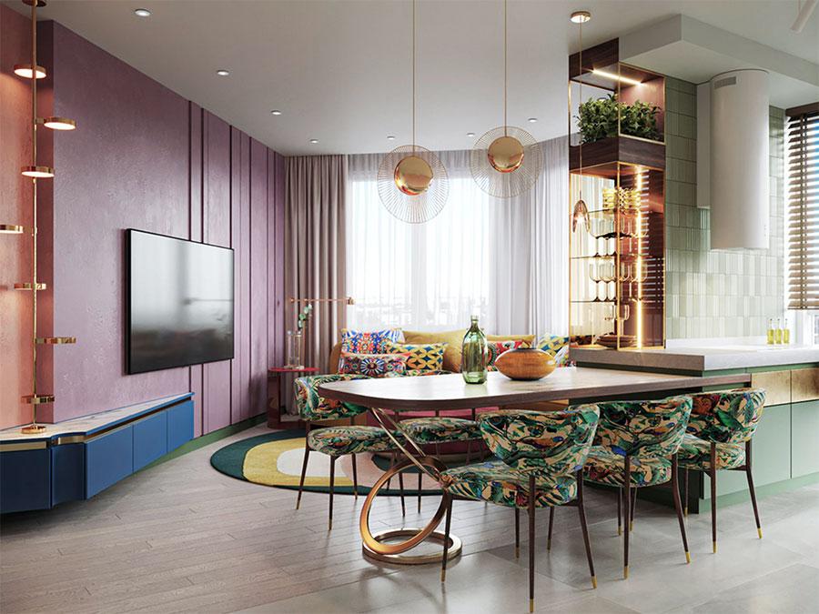 Idee per una cucina con pareti colorate particolari n.02