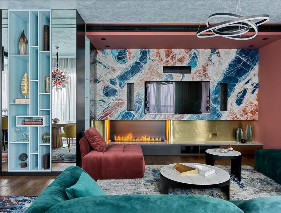 Idee per un soggiorno con pareti colorate particolari n.11