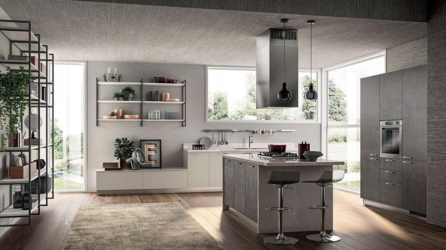 Modello di cucina con mensole a giorno n.05