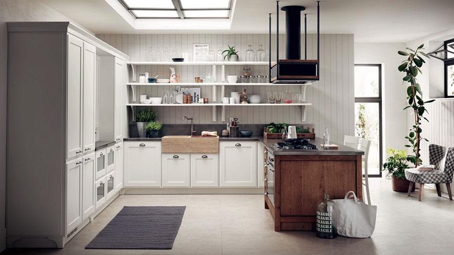 Modello di cucina con mensole a giorno n.10