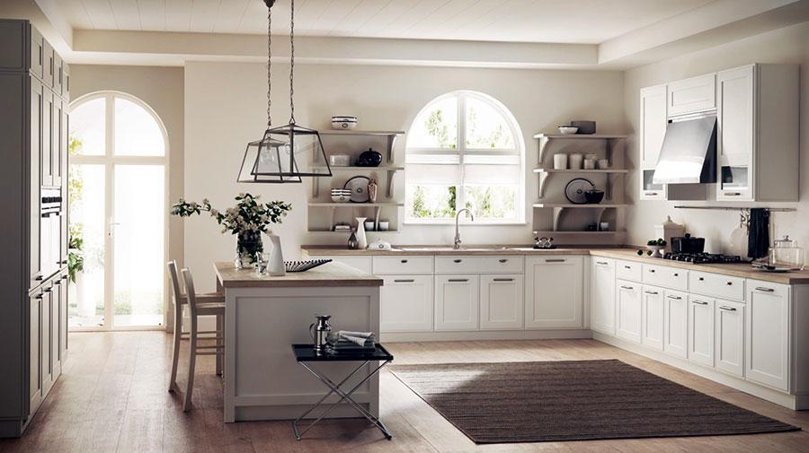 Modello di cucina con mensole a giorno n.11