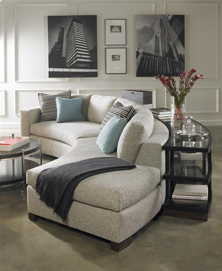 Salotto arredato con divano rotondo n.08