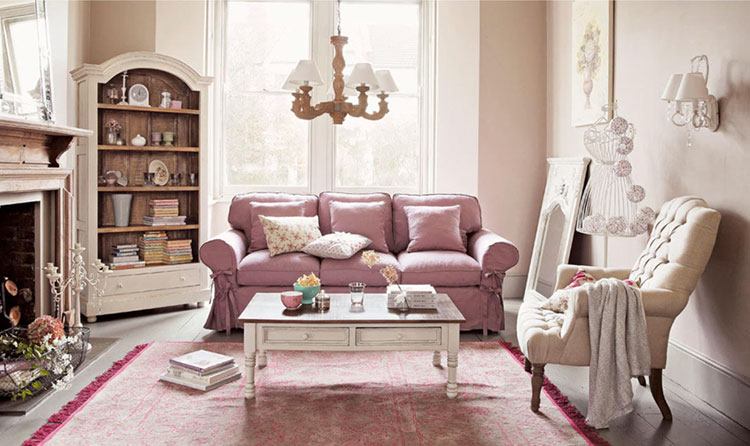 Modello di divano per soggiorno shabby n.02