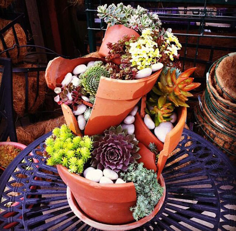 Giardino incantato ricavato da un vaso rotto n.12