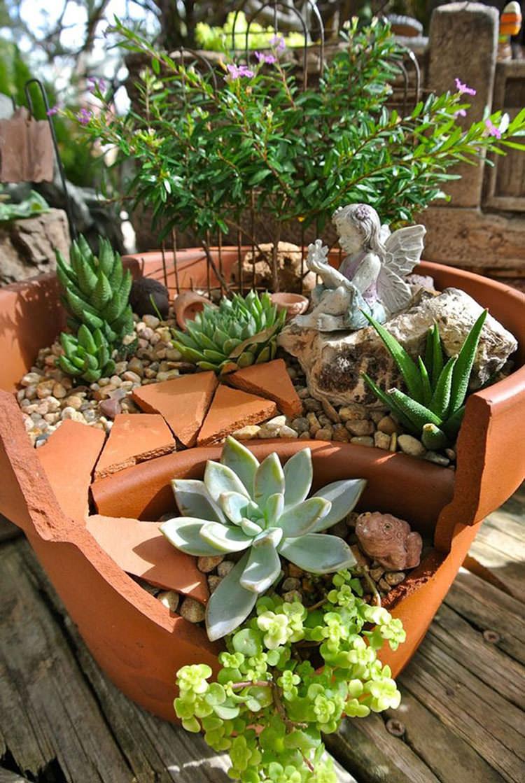 Giardino incantato ricavato da un vaso rotto n.14