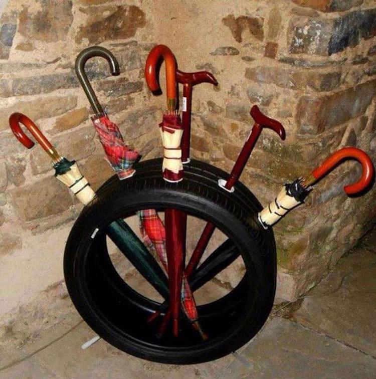 Come creare un portaombrelli con vecchi pneumatici