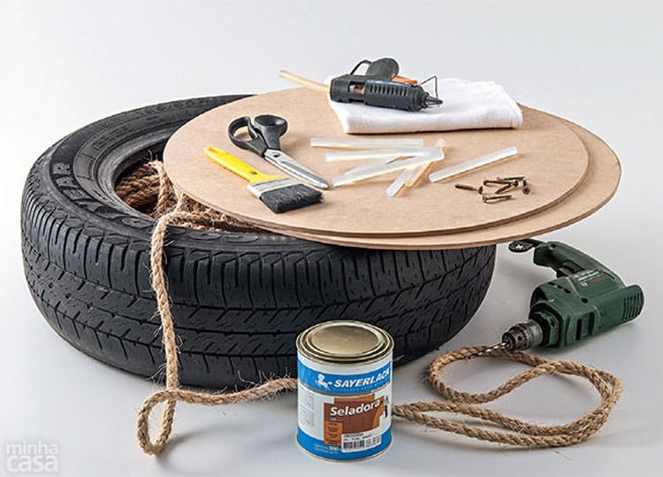 Occorrente per creare un puof con uno pneumatico