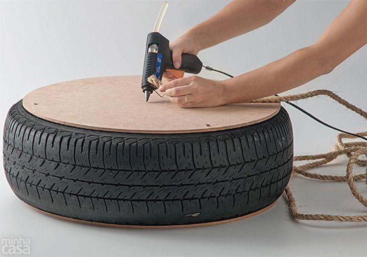 Procedimento per la creazione del pouf con pneumatico