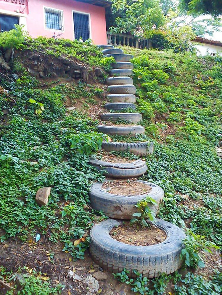 Come creare dei gradini con pneumatici