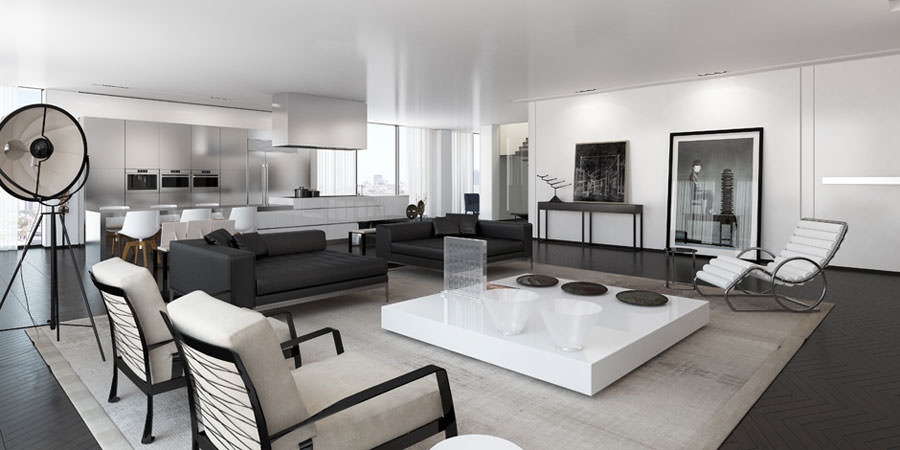 20 idee di design per arredare il soggiorno in bianco e for Idea casa arredamenti