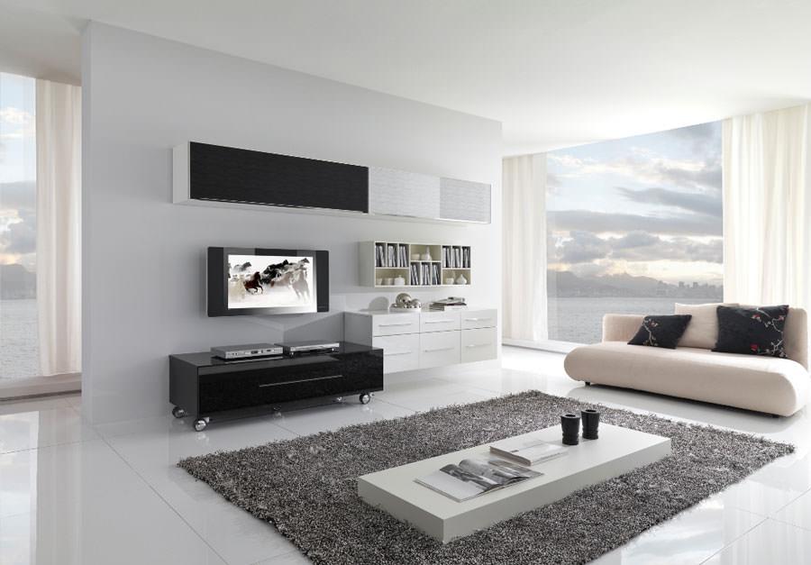 Idea per arredare il soggiorno in bianco e nero n.03