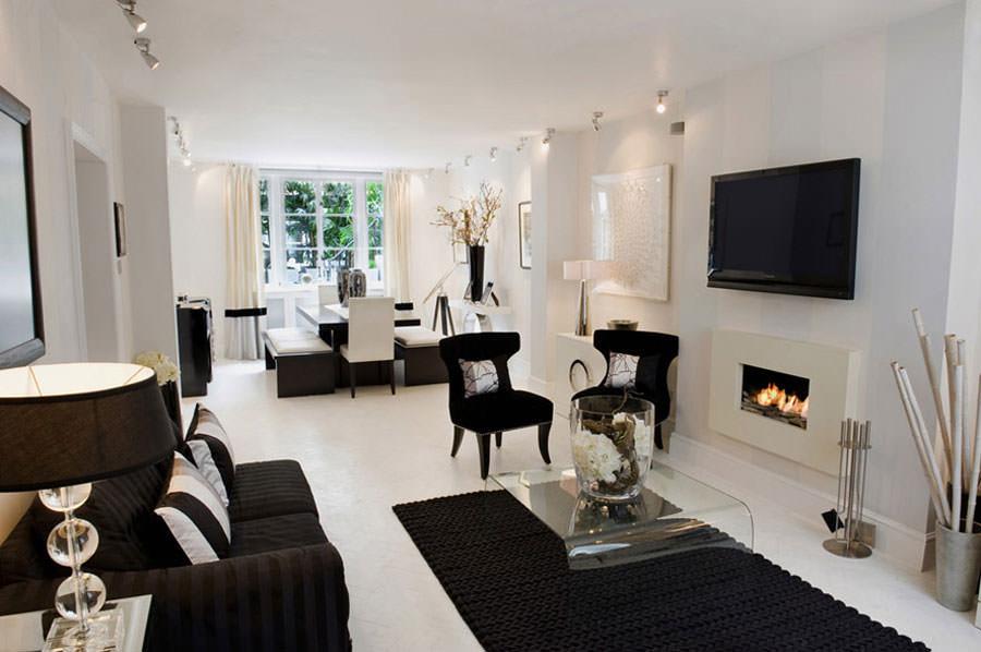 20 idee di design per arredare il soggiorno in bianco e - Pitturare il soggiorno ...