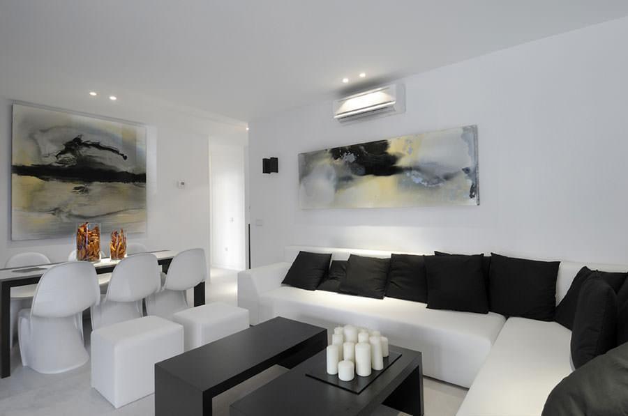 Idea per arredare il soggiorno in bianco e nero n.08