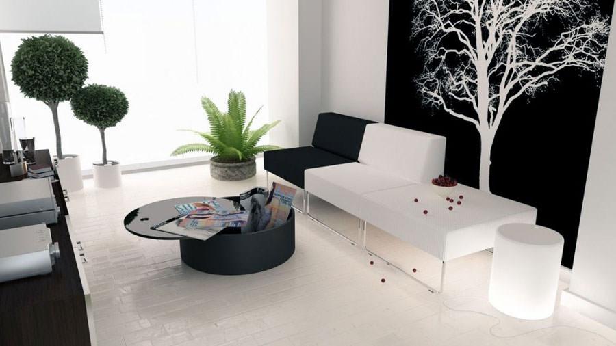 Idea per arredare il soggiorno in bianco e nero n.09