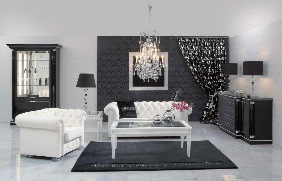 Idea per arredare il soggiorno in bianco e nero n.10