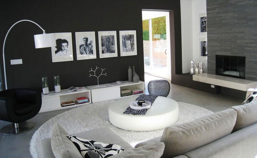 Pareti del soggiorno di colore nero n.03