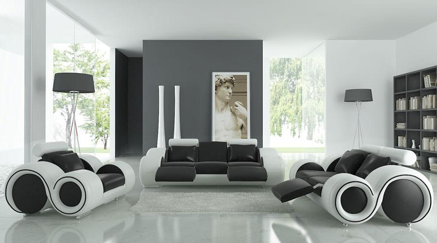 Pareti del soggiorno di colore bianco e grigio n.02