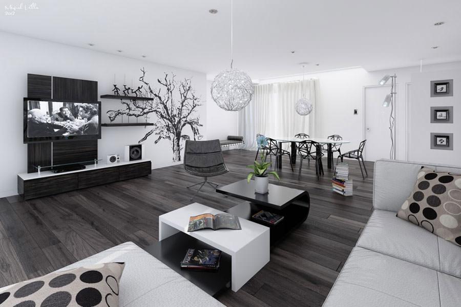 20 idee di design per arredare il soggiorno in bianco e - Arredi case moderne ...