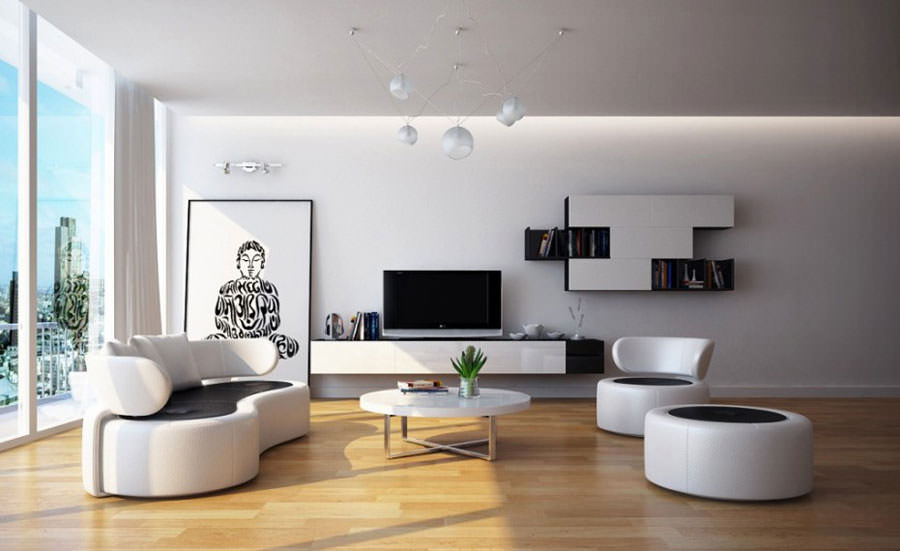 Idea per arredare il soggiorno in bianco e nero n.15