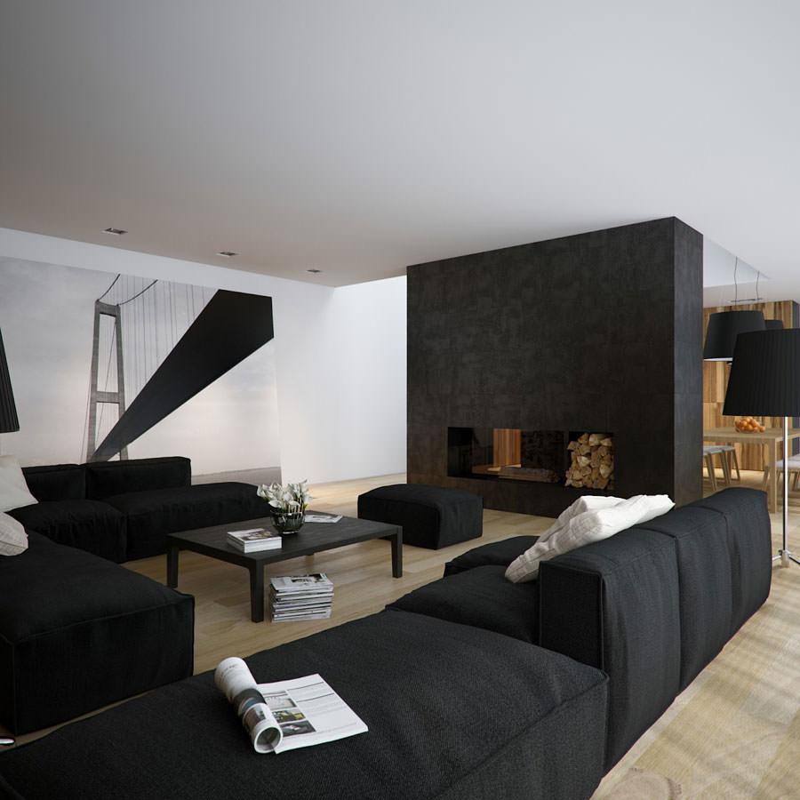 Idea per arredare il soggiorno in bianco e nero n.16