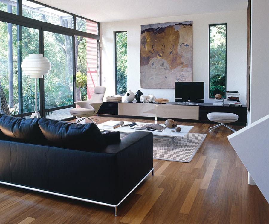 20 idee di design per arredare il soggiorno in bianco e for Arredare il soggiorno