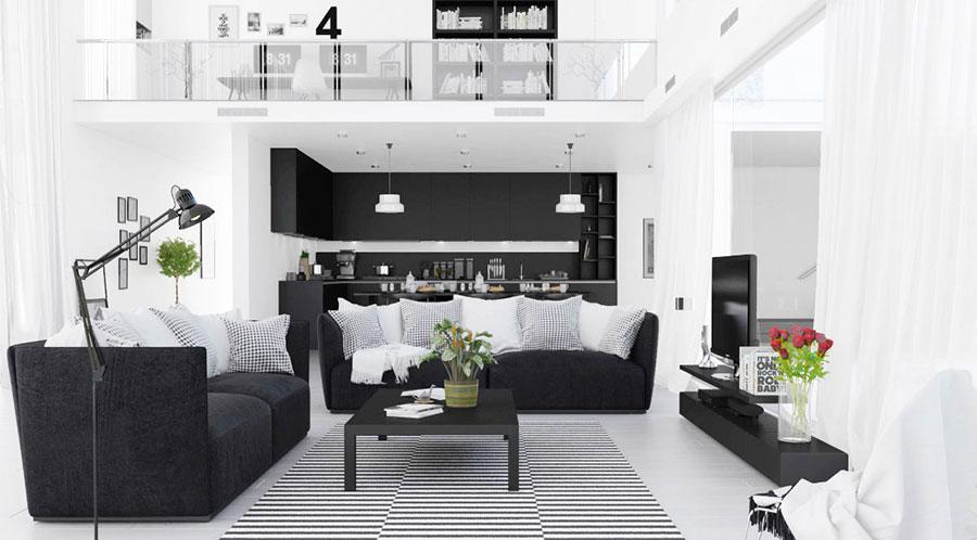 Idea per arredare il soggiorno in bianco e nero n.21