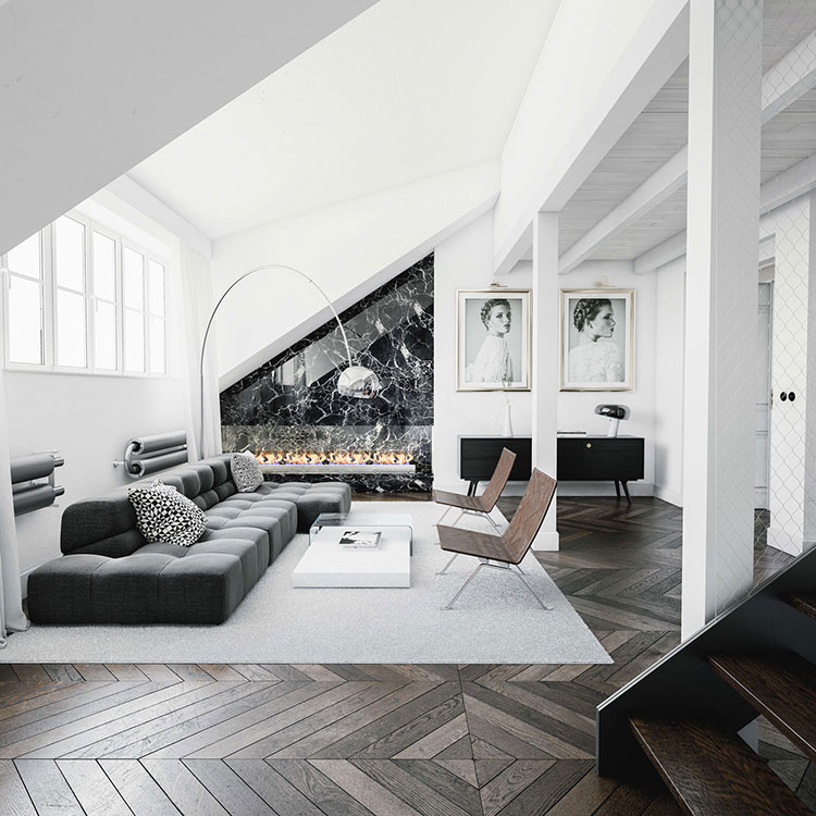 Idea per arredare il soggiorno in bianco e nero n.22