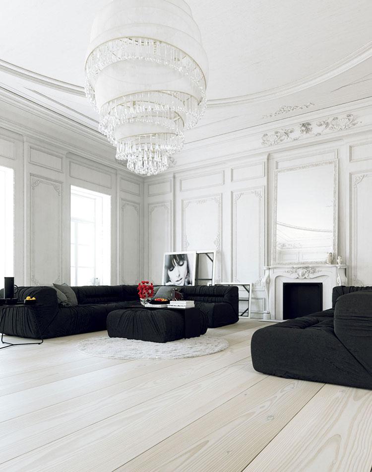 Idea per arredare il soggiorno in bianco e nero n.23