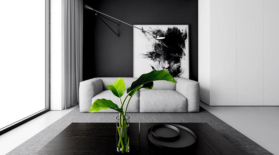 Idea per arredare il soggiorno in bianco e nero n.26