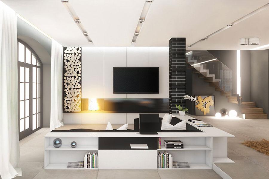 Idea per arredare il soggiorno in bianco e nero n.27
