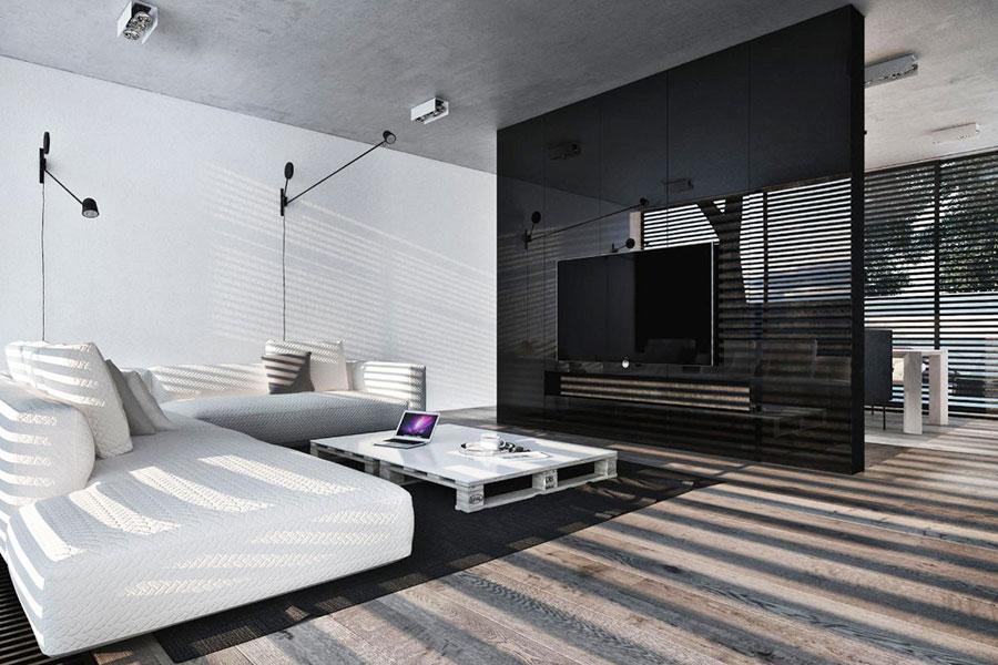 Idea per arredare il soggiorno in bianco e nero n.30