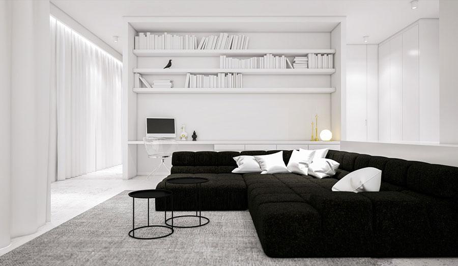 Idea per arredare il soggiorno in bianco e nero n.31