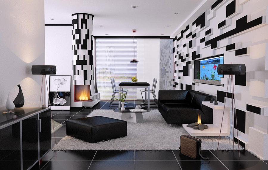 Idea per arredare il soggiorno in bianco e nero n.33