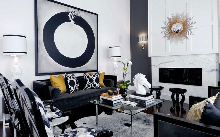 Idea per arredare il soggiorno in bianco e nero n.34