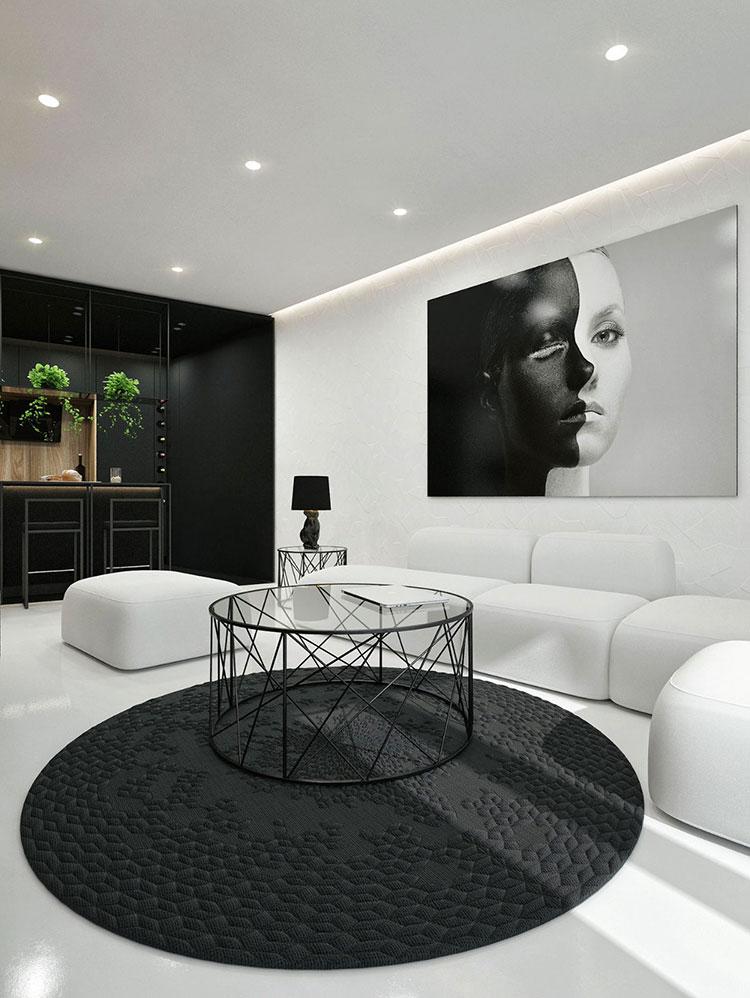 Idea per arredare il soggiorno in bianco e nero n.35