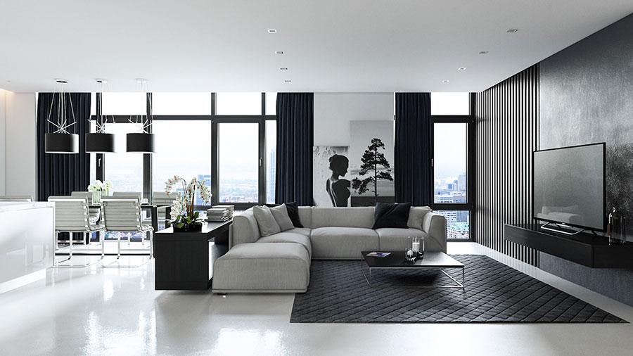 Idea per arredare il soggiorno in bianco e nero n.36