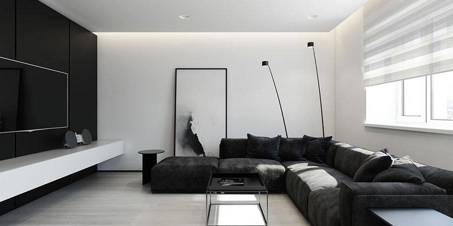 Idea per arredare il soggiorno in bianco e nero n.37
