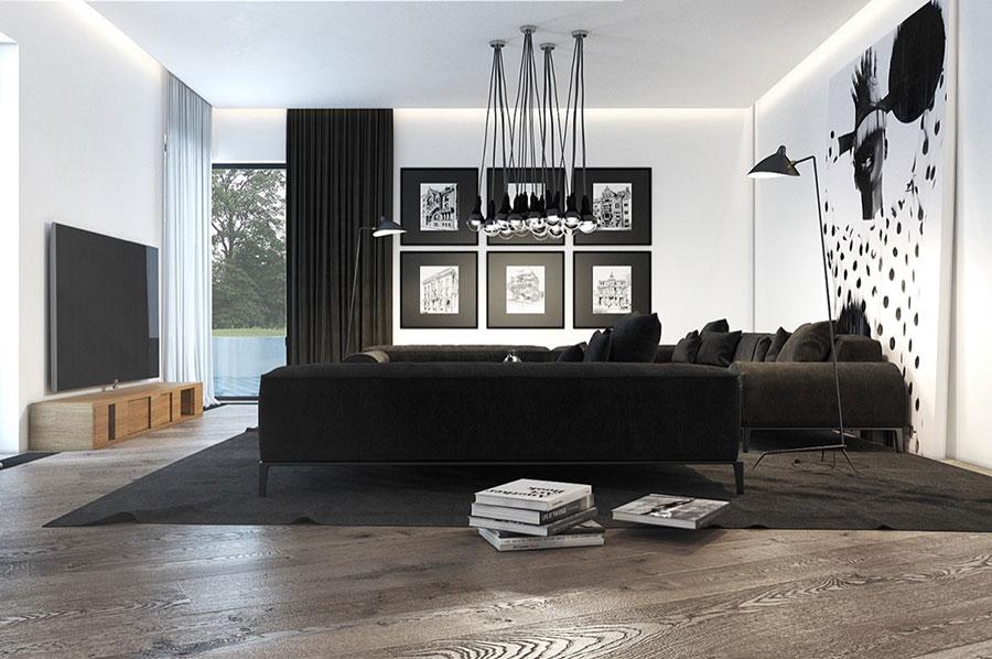 Idea per arredare il soggiorno in bianco e nero n.38