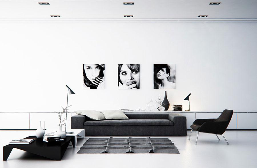 Idea per arredare il soggiorno in bianco e nero n.40