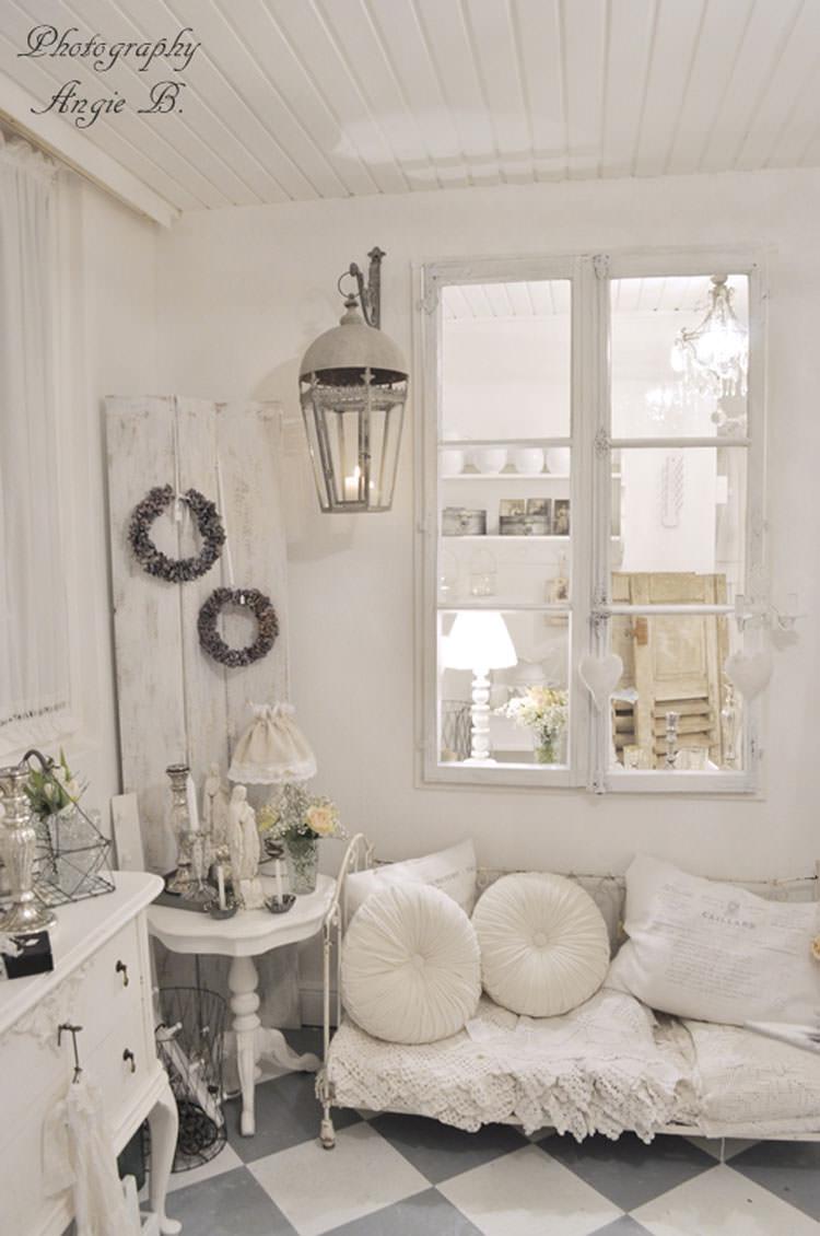 idee per dipingere le pareti in stile shabby chic con il bianco 04