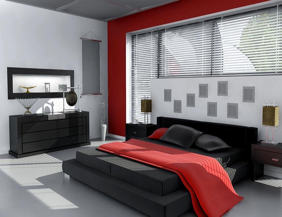 Camera da letto arredata con le tonalità rosso e grigio n.01