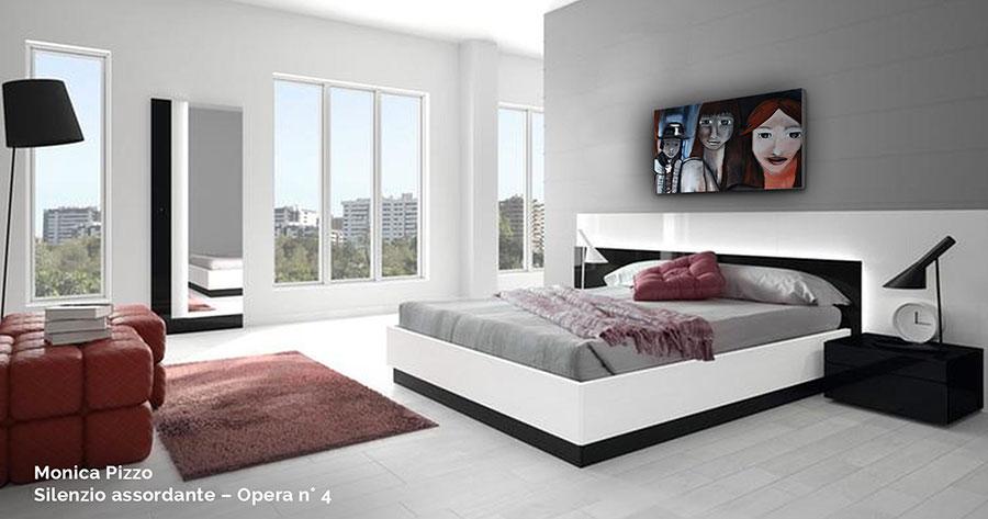 Arredamento per camera da letto rossa e grigia 01