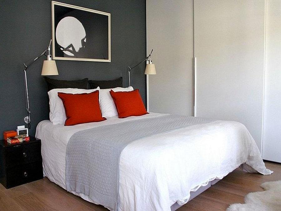 Camera da letto arredata con le tonalità rosso e grigio n.07